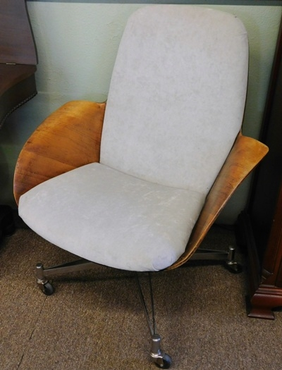 1950-60's SWIVEL DESK CHAIR-Bent Plywood Body, Upholstered Seat & Back