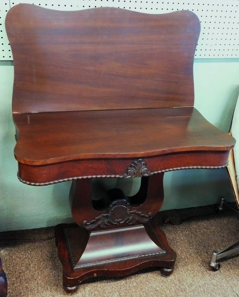 LATE 1800's MAHOG. EMPIRE GAME TABLE, LYRE STYLE BASE