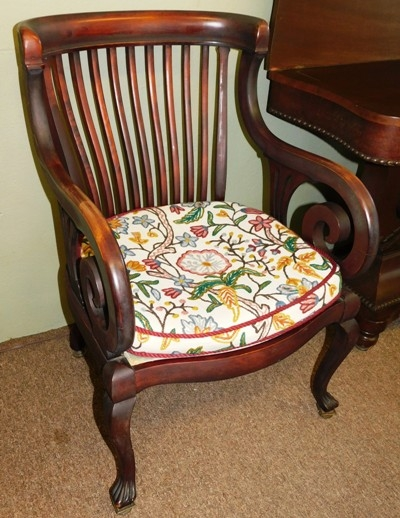 1900's MAHOG. ARM CHAIR, CUSHION SEAT