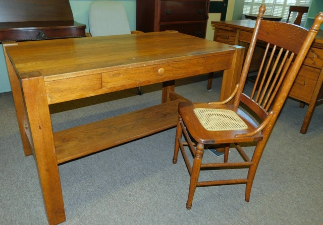 1900's MISSION STYLE OAK LIBRARY TABLE + OAK 1900's SIDE CHAIR
