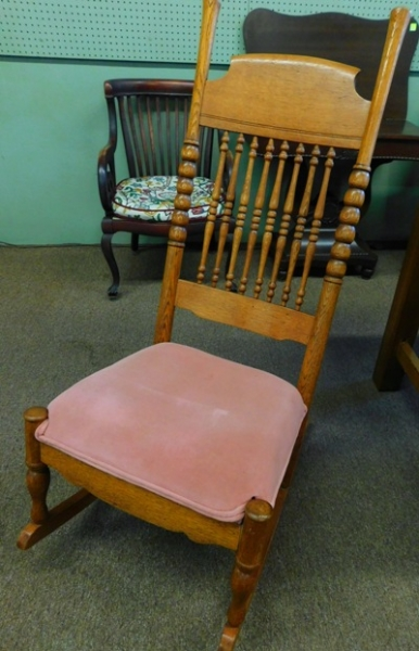 1900's OAK SEWING ROCKER, HIGH BACK, UPHOL. SEAT
