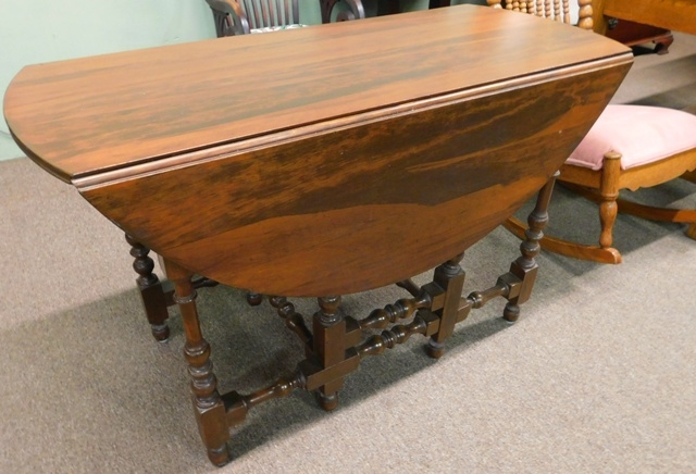 "WALNUT STAINED DROP-LEAF, GATE LEG TABLE, 1940-50""s"