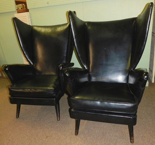 "PAIR 1950's HIGHBACK WING ARM CHAIRS In the Wegner ""Papa Bear"" Style"