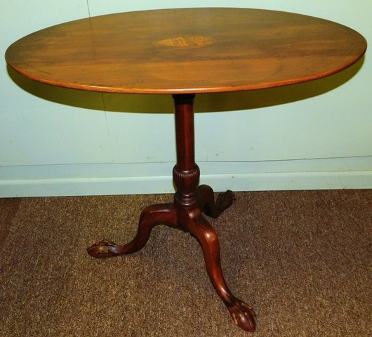 OVAL TILT-TOP SIDE TABLE, SEASHELL MARQUETRY CENTER