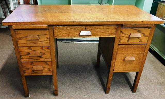 "1940'S OAK 6-DRAWER DESK, 48""X24"""