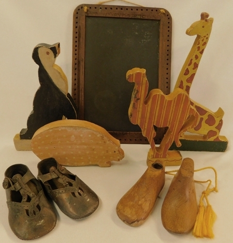 BX-VINTAGE CHALK BOARD; HAND MADE WOOD ANIMAL TOYS; ETC