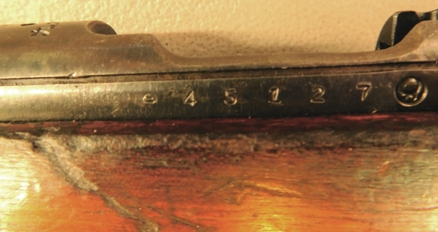 View 3~45127 RIFLE, UNK. CAL. or MODEL, SWING OUT SUPPORT BRACKET,~ WWII SOUVENIR