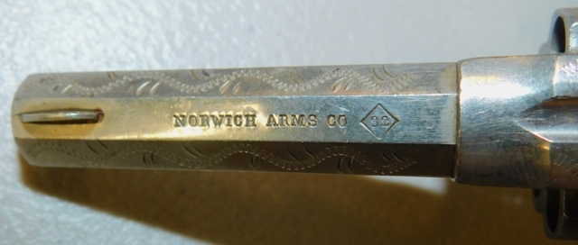 View 3~NORWICH ARMS CO. REVOLVER, PTD. 4-23-1878, UNK. SN. or CAL.