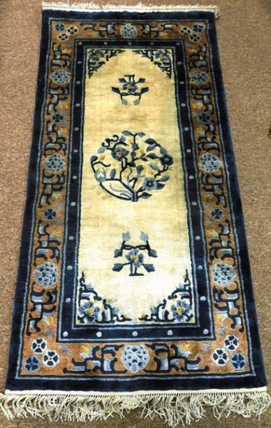 "48""x24"" CHINESE RUG, BLUE & TAN DESIGN ON IVORY FIELD"