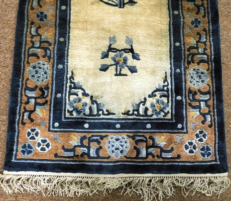 "View 2~ 48""x24"" CHINESE RUG, BLUE & TAN DESIGN ON IVORY FIELD"