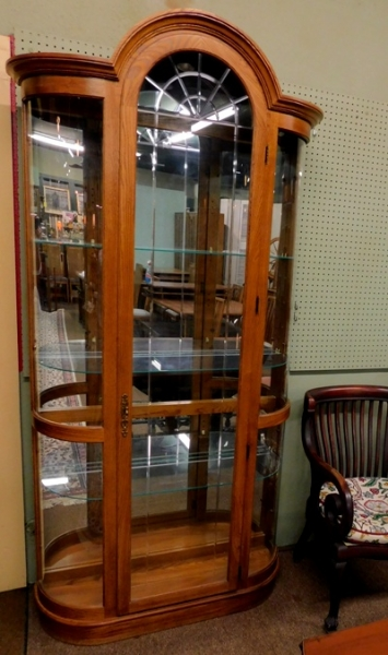 OAK CURVED GLASS CHINA CABINET, DOME TOP DOOR; MIRROR BACK; GLASS SHELVES