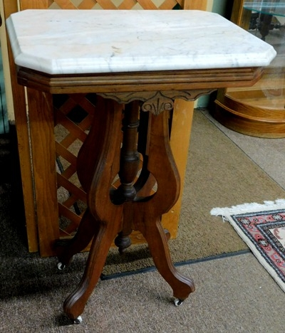 LATE 1800's SMALL WALNUT VICTORIAN RECTANGULAR TABLE, MARBLE TOP