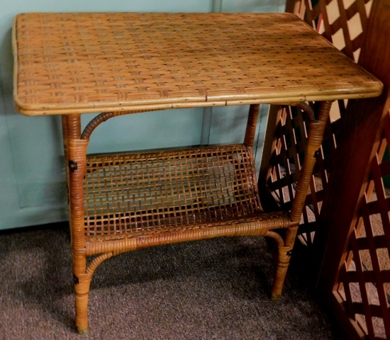 WOVEN SIDE TABLE, BOOKCASE STRETCHER