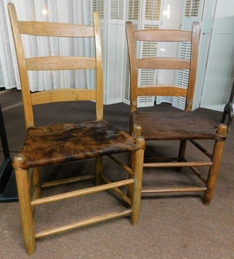 PRIMITIVE LADDER-BACK SIDE CHAIRS, HIDE COVERED SEATS
