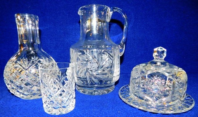 CUT CRYSTAL JUG & TUMBLER; PITCHER; BUTTER DISH & LID