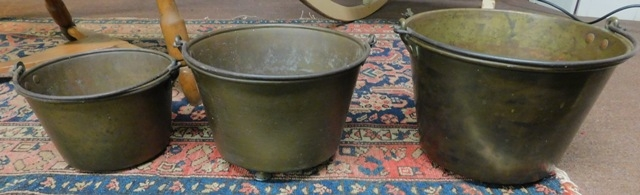 THREE 1800's BRASS BUCKETS IN GRADUATING SIZES