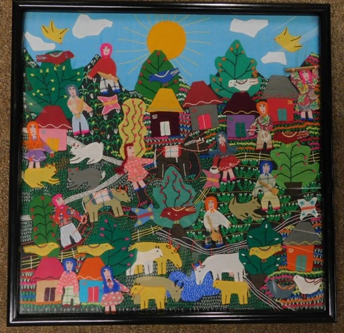 FRAMED HAND CRAFTED/APPLIQUE STORY PICTURE FROM COLUMBIA