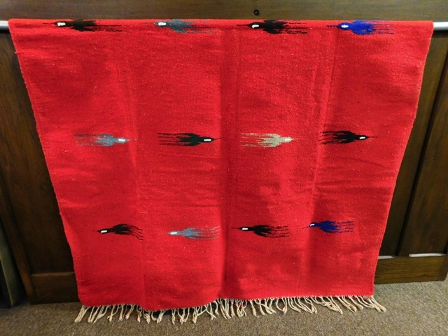 RED WOVEN INDIAN BLANKET/RUG, Gray & Black Thunderbirds