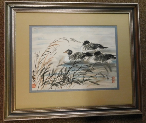 FR-MATT-SIGNED Watercolor (Geese on Pond)