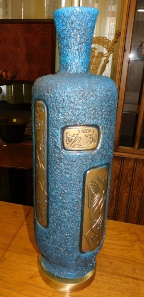 BLUE & GOLD 1950-60's TABLE LAMP