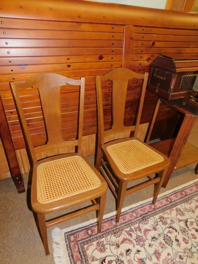 PAIR OAK 5-BACK SIDE CHAIRS, CANE SEATS