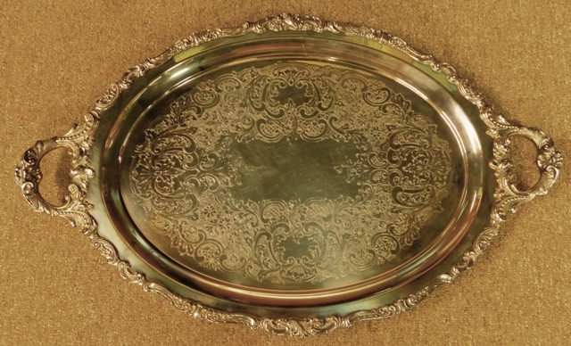 "WALLACE - BAROQUE 18x29"" Footed Handled Tray"
