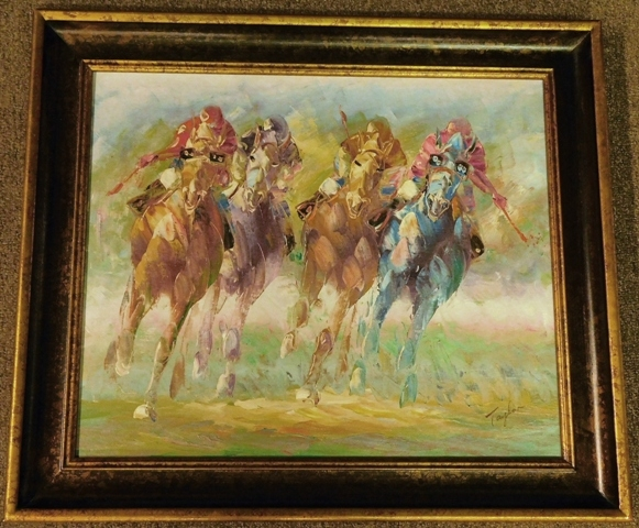 """GAME OF POLO"" Framed Oil on Canvas, signed TAYLOR"