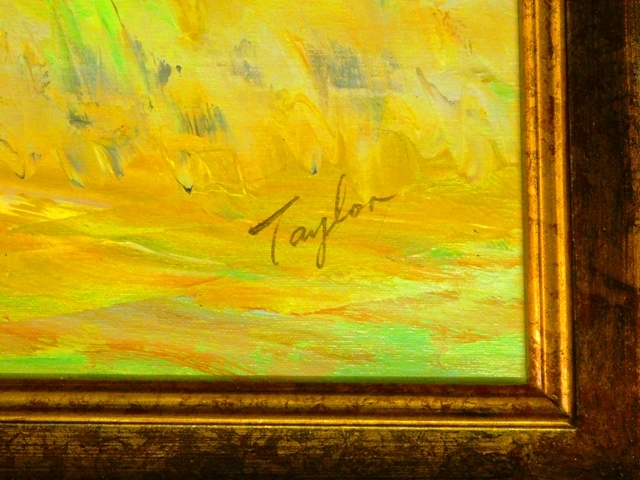 "View 2~""GAME OF POLO"" Framed Oil on Canvas, signed TAYLOR"