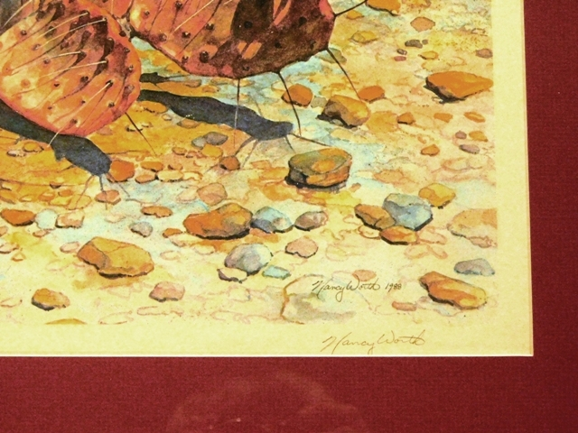 """View 2~(BLOOMING CACTUS"""" Framed-Matter Litho, signed Nancy Worth, 1988, 349/750"""