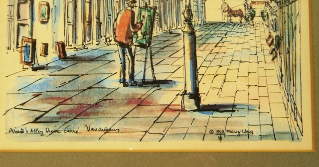 View 2~ SET 4 PIN & INK COLORED DRAWINGS OF NEW ORLEANS BY FRANZ WEISS