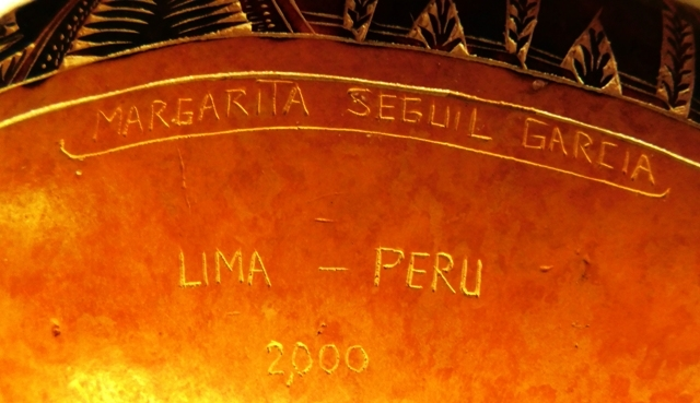 View 2~LARGE HANDCARVED-DECORATED GOURD, SIGNED MARGARITA SEGUIL GARCIA