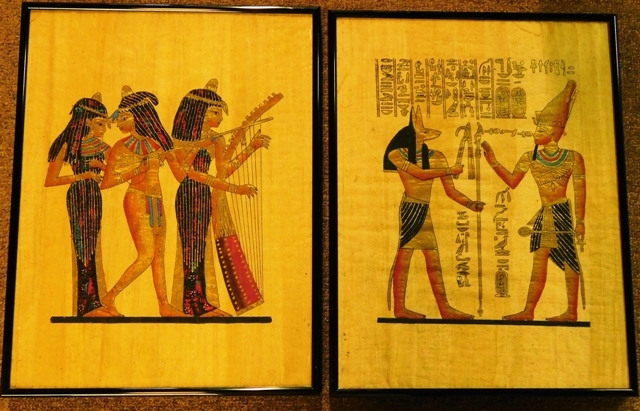 PAIR EGYPTIAN ART WORKS ON PAPYRUS