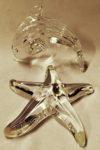 WATERFORD PORPOISE & STAR FISH FIGURINES