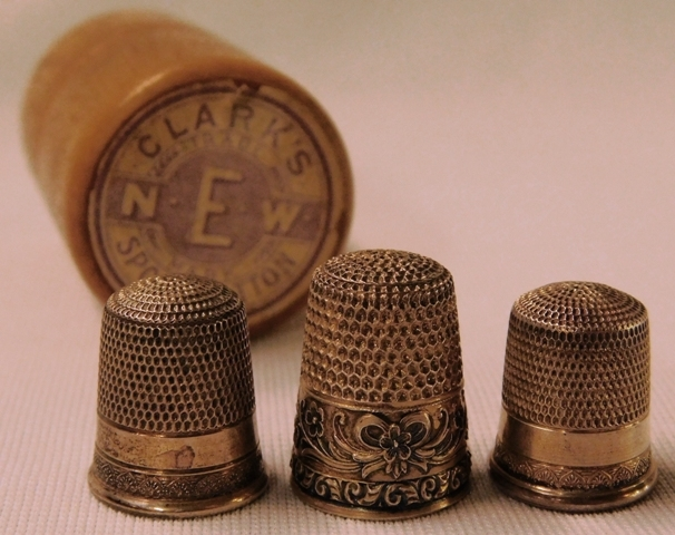 3 STERLING THIMBLES + WOOD SEWING CASE