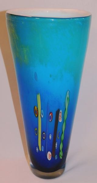 "12"" CASED GLASS CONE-SHAPED VASE"