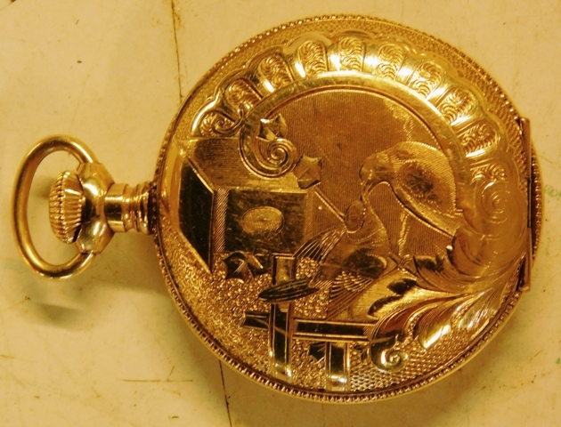 TRENTON WATCH CO. GOLD FILLED, CLOSED FACE POCKET WATCH