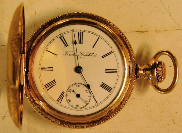 View 2~TRENTON WATCH CO. GOLD FILLED, CLOSED FACE POCKET WATCH