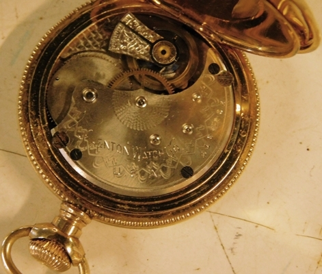 View 3~TRENTON WATCH CO. GOLD FILLED, CLOSED FACE POCKET WATCH
