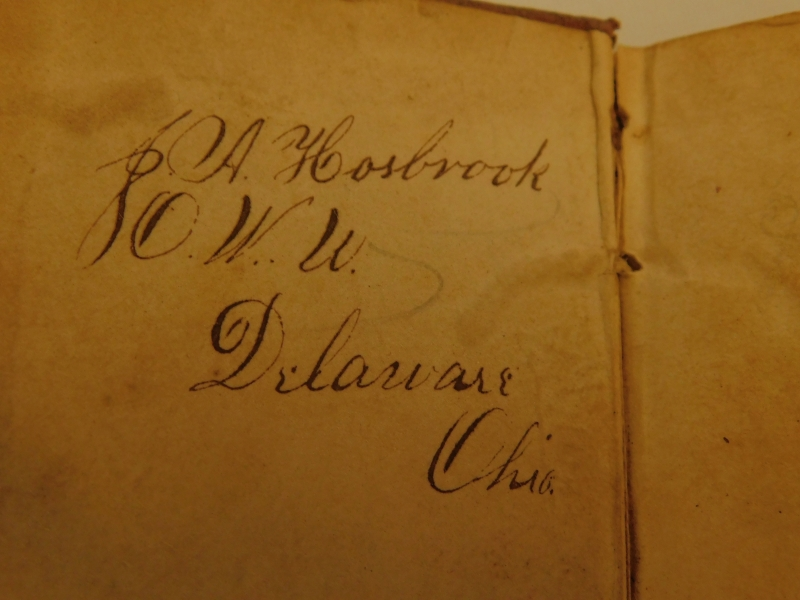 """View 2~LEATHER BOUND 'METHODIST HYMNS"""" BOOK, May 1849, 2-1/2""""x4"""""""