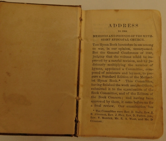 "View 3~LEATHER BOUND 'METHODIST HYMNS"" BOOK, May 1849, 2-1/2""x4"""