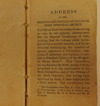 """View 4~LEATHER BOUND 'METHODIST HYMNS"""" BOOK, May 1849, 2-1/2""""x4"""""""