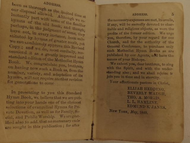 "View 5~LEATHER BOUND 'METHODIST HYMNS"" BOOK, May 1849, 2-1/2""x4"""