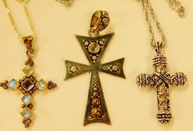 STERLING SILVER CROSSES (Some with Stones)