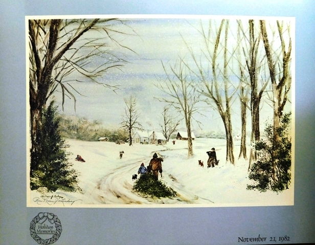 """Holiday Memories"" signed print by Rose Marie Lindsay, 1982"