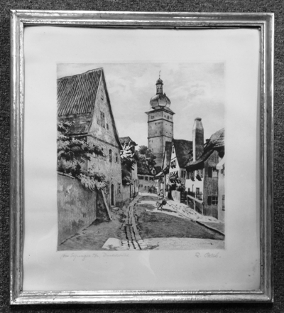 "B&W FRAMED LITHO ~ ""TOWARD SEGRINGER TOWER DUNKELS BUTEL"