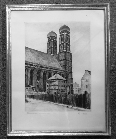 "B&W LITHO ~ ""TOWARD SEGRINGER TOWER DUNKELS BUTEL"