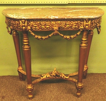 ORNATE GILT DEMI-LUME/HALF ROUND TABLE