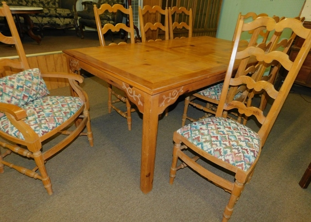 #2 ~ DINING TABLE WITH TWO  LEAVES, SET 8 CHAIRS