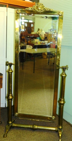BRASS FRAMED CHEVEL MIRROR, ORNATE CREST, PAW FEET