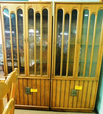 PAIR MATCHING DISPLAY CABINET, LIGHTED TOP DISPLAY